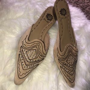 YELLOW BOX Craze Embellished Tan Suede Mules